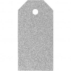Manillamærker Glitter Sølv 5x10cm - 15 stk