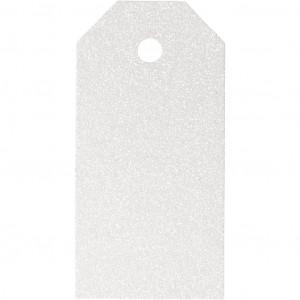 Manillamærker Glitter Hvid 5x10cm - 15 stk
