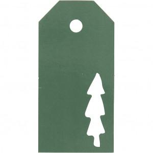 Manillamærker Juletræ Grøn 5x10cm - 15 stk
