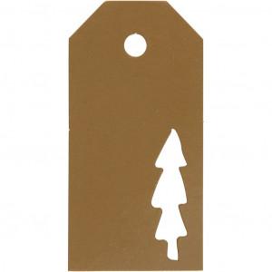 Manillamærker Juletræ Guld 5x10cm - 15 stk