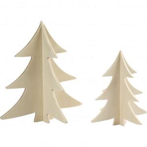 3D Juletræer til Nisser Krydsfiner 13-18cm - 2 stk