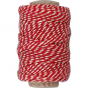 Bomuldssnor Rød/Hvid 1,1mm 50m