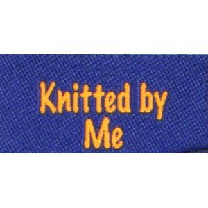 Label dobbeltsidet Knitted by me Marineblå