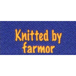 Label dobbeltsidet Knitted by Farmor Marineblå