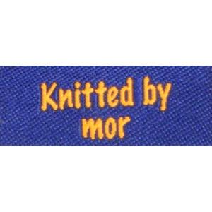 Label dobbeltsidet Knitted by Mor Marineblå