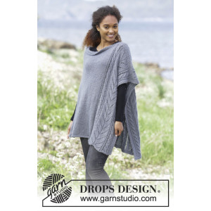 Cloudy Day by DROPS Design - Poncho Strikkeopskrift str. S/M - XXXL