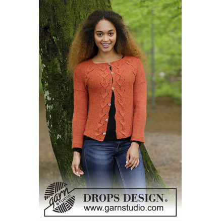 Image of   Autumn Vines Cardigan by DROPS Design - Jakke Strikkeopskrift str. S -