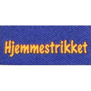 Label dobbeltsidet Hejmmestrikket Marineblå