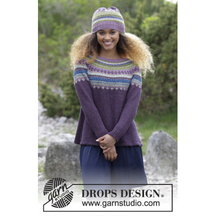 Image of   Blueberry Fizz by DROPS Design - Bluse og Hue Strikkeopskrift str. S -