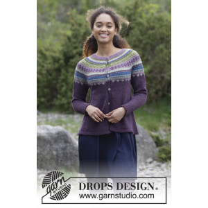 Blueberry Fizz Jacket by DROPS Design - Jakke Strikkeopskrift str. S - XXXL
