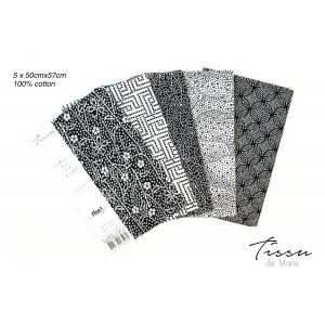 Tissu de Marie Fat Quarter Neutral Blomst 50x57cm - 5 stk