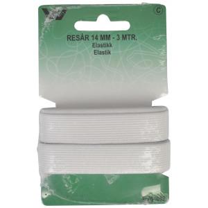 Elastik/Elastikbånd Hvid 14mm 3m