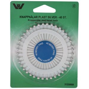 Nipsenåle/Knappenåle Plast Sølv - 40 stk