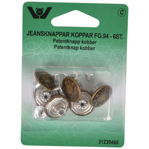 Image of   Patentknapper Kobber 17mm - 6 stk