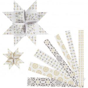 Vivi Gade Stjernestrimler Skagen Hvid/Guld Metalfolie 44-86cm 15-25mm Diameter 6,5-11,5cm - 48 stk