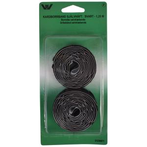Velcro/Gribebånd Selvklæbende Sort 20mm 1,25m
