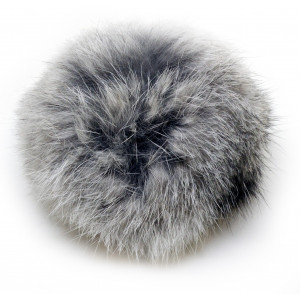 Pompon Kvast Kaninhår Grå 100 mm