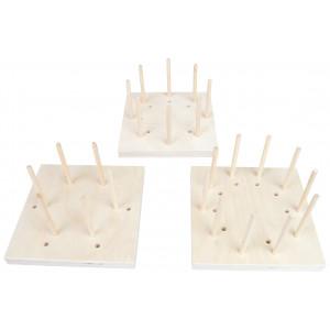 Blocking Board Sæt i Træ 6-8-10 huller 15x15x1,5cm - 3 stk