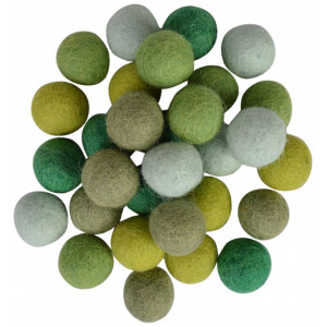Filtkugler 20mm Ass. Grønne Nuancer - 30 stk
