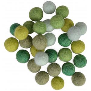 Filtkugler 10mm Ass. Grønne Nuancer - 30 stk