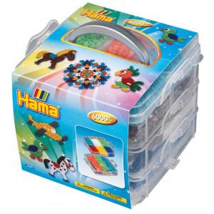 Hama Midi Opbevaringsboks Lille 6701 med 6000 Perler og 3 Perleplader