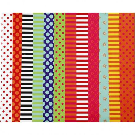 Mønstret glanspapir, ark 32x48 cm, 80 g, ass. farver, 100ass. ark thumbnail
