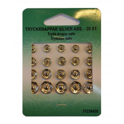 Tryklåse Sølv Ass. 20 stk. thumbnail