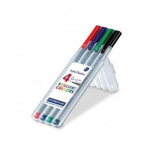 Staedtler Triplus Fineliner Tuscher/Tusser Ass. farver 0,3mm - 4 stk