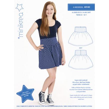 Billede af MiniKrea Snitmønster 40140 A-nederdel str. 8-16 år