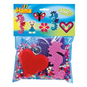 Hama Midi Pose 4412 med 3.000 perler & 4 perleplader