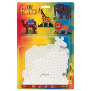Hama Midi Blisterpak 4554 Elefant, Giraf, Løve & Kamel perleplade Hvid