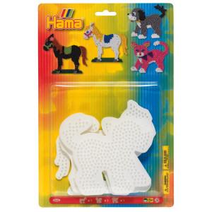 Hama Midi Blisterpak 4556 Hest, Hund & Kat perleplade Hvid - 3 stk