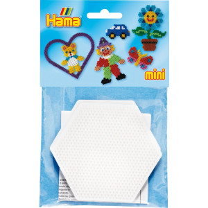 Hama Mini Pose 5204 Sekskant perleplade Hvid 8,5x8,5cm - 2 stk