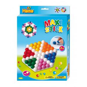 Hama Maxi Stick Ophængsæske 9669 med 140 Maxi Sticks & Sekskantet hulp