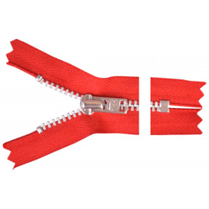 YKK Lynlås Aluminium 22cm 4mm Rød