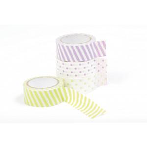 Dekorationstape/Masking tape Prikker & Striber Grøn/Lilla 15mmx5m - 4 stk