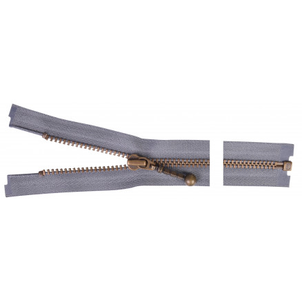 Image of   YKK Delbar Lynlås Antik Messing 40cm 4mm Grå