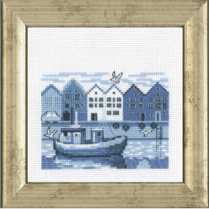 Image of   Permin Broderikit Aida Havnen 12x12cm