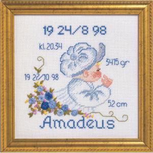 Image of   Permin Broderikit Aida Fødselstavle Amadeus 19x19cm