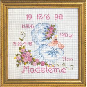 Image of   Permin Broderikit Aida Fødselstavle Madeleine 19x19cm