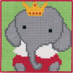 Image of   Permin Broderikit Påtegnet Stramaj til Børn Elefant 25x25cm