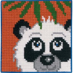Image of   Permin Broderikit Påtegnet Stramaj til Børn Panda 25x25cm