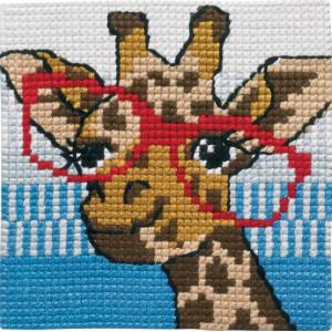 Image of   Permin Broderikit Påtegnet Stramaj til Børn Giraf 25x25cm