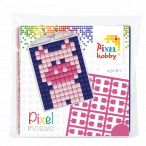 Image of   Pixelhobby Gaveæske Nøgleringssæt Gris 3x4cm