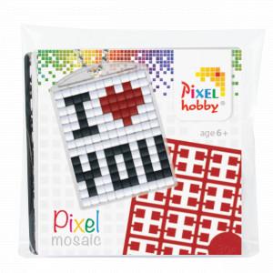 Image of   Pixelhobby Gaveæske Nøgleringssæt I Love You 3x4cm