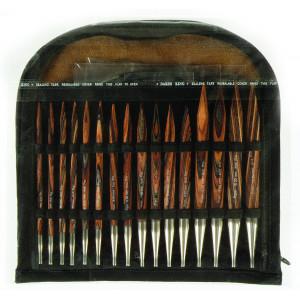 KnitPro Rundpindesæt Træ Sæt med udskiftelige wire 8 størrelser 4 længder