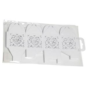 Papæske Hjerte Hvid 5x5x7,5cm - 10 stk