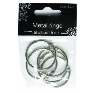 Image of   Metal Ringe/Nøgleringe 33mm - 5 stk
