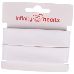Infinity Hearts Skråbånd Bomuld 40/20mm 01 Hvid - 5m