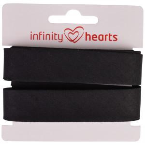 Infinity Hearts Skråbånd Bomuld 40/20mm 02 Sort - 5m
